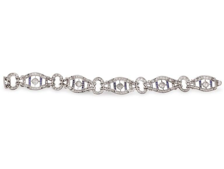 French Vintage 1920s Sapphire Diamond Bracelet For Sale 2