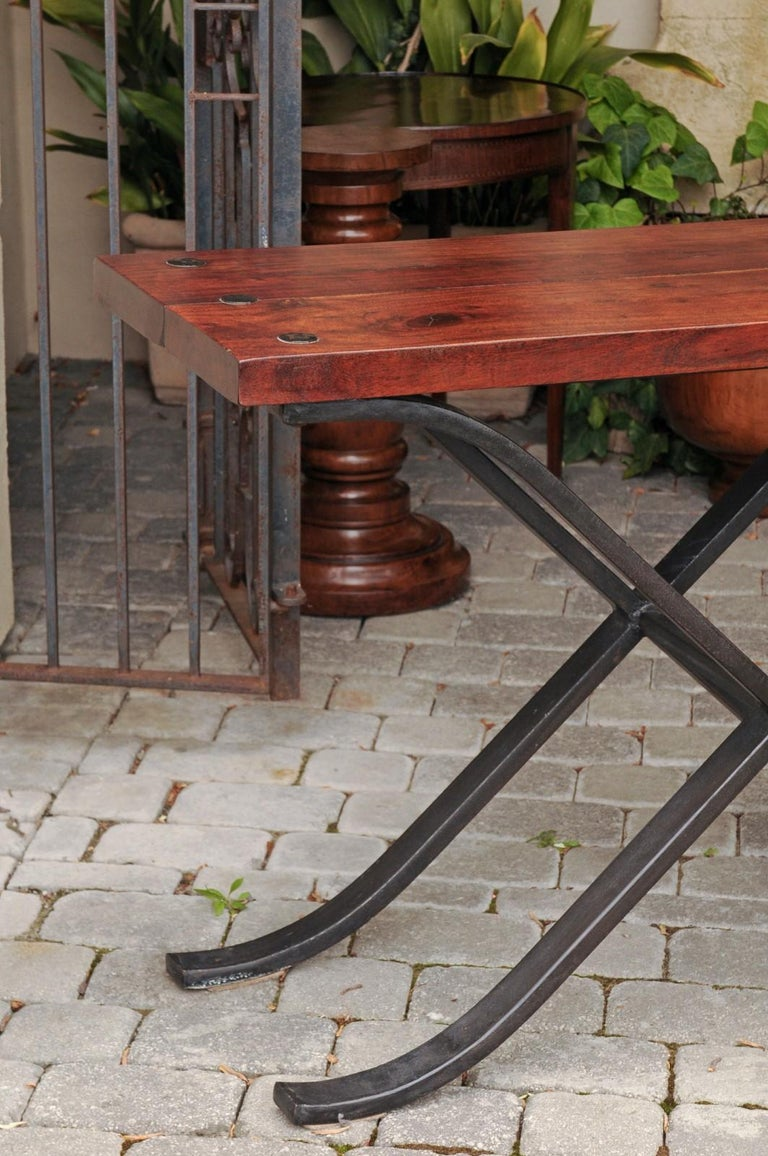 20th Century French Vintage 1950s Narrow Walnut and Iron Table with Curving X-Form Stretcher For Sale