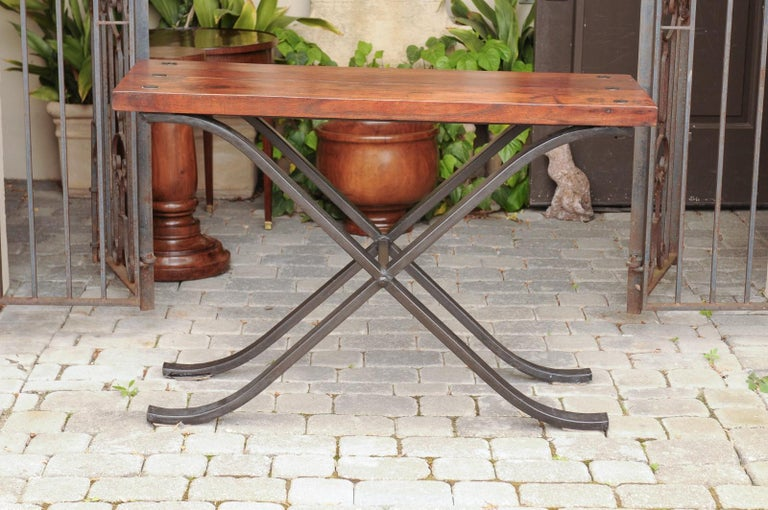 French Vintage 1950s Narrow Walnut and Iron Table with Curving X-Form Stretcher For Sale 5