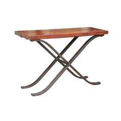 French Vintage 1950s Narrow Walnut and Iron Table with Curving X-Form Stretcher