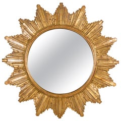 French Vintage 1970s Gilt Composition Sunburst Mirror with Rays of Varying Sizes