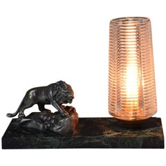 French Vintage Art Deco Lion Marble Table Lamp, 1930s