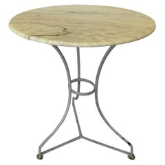 French Vintage Blue Painted Bistro Table with Marble Top