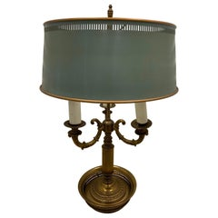 French Vintage Bouillotte Brass Table Lamp with Metal Shade