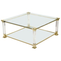 French Vintage Brass and Glass Square Coffee Table