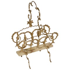 French Vintage Brass and Onyx Magazine Rack