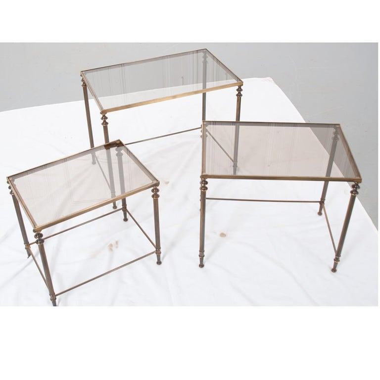 Other French Vintage Brass Nesting Tables For Sale