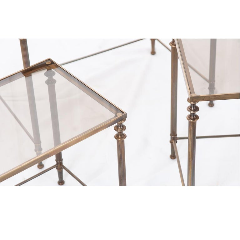 French Vintage Brass Nesting Tables In Good Condition For Sale In Baton Rouge, LA