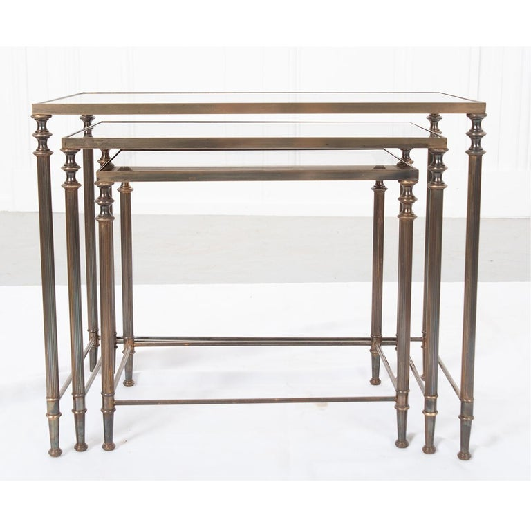 20th Century French Vintage Brass Nesting Tables For Sale