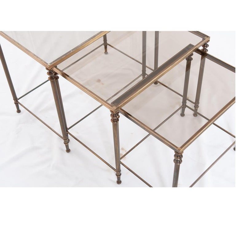 French Vintage Brass Nesting Tables For Sale 1