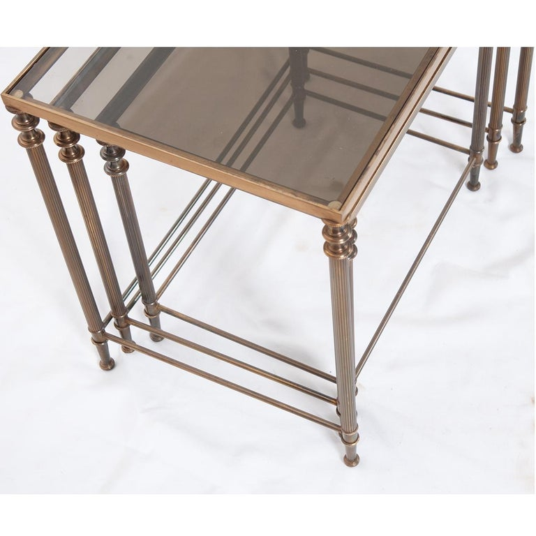 French Vintage Brass Nesting Tables For Sale 2