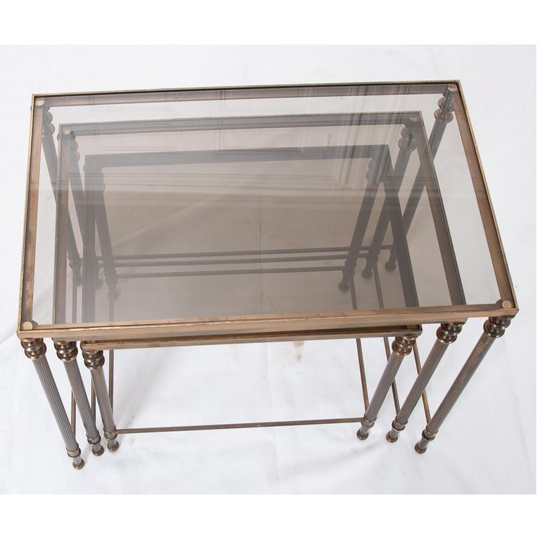 French Vintage Brass Nesting Tables For Sale 3