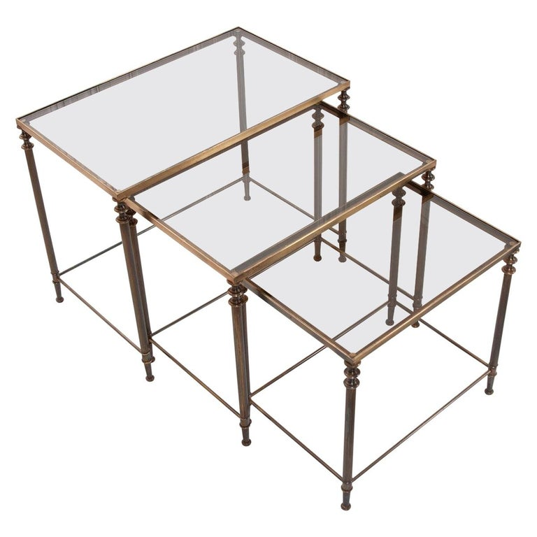 French Vintage Brass Nesting Tables For Sale