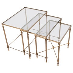 French Vintage Brass Nesting Tables