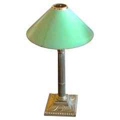 French Vintage Brass Pillar Table Lamp with Paper Shade
