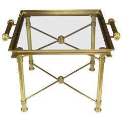 French Vintage Brass Side Table and Platter by Maison Baguès, 1980s