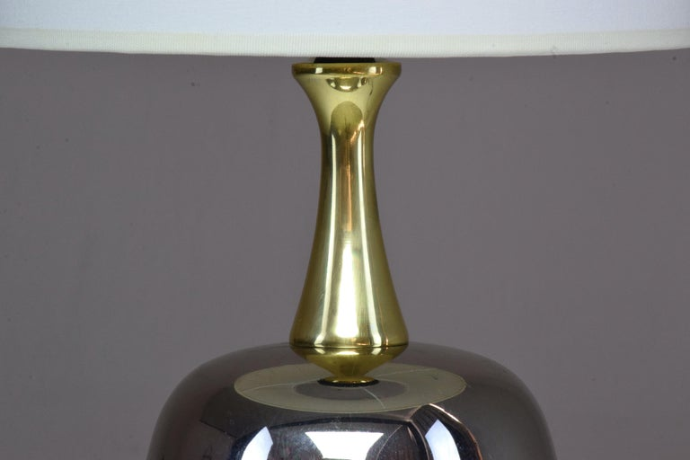 French Vintage Brass Table Lamp, 1970s  For Sale 9