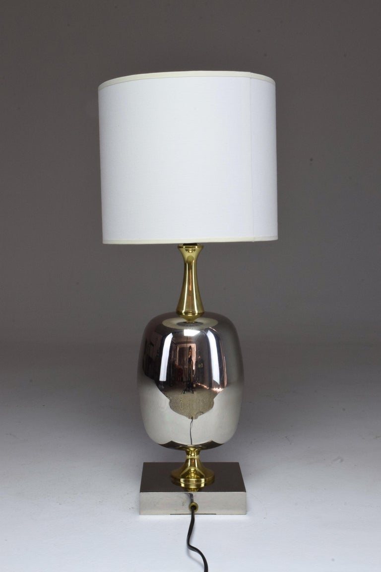 French Vintage Brass Table Lamp, 1970s  For Sale 14