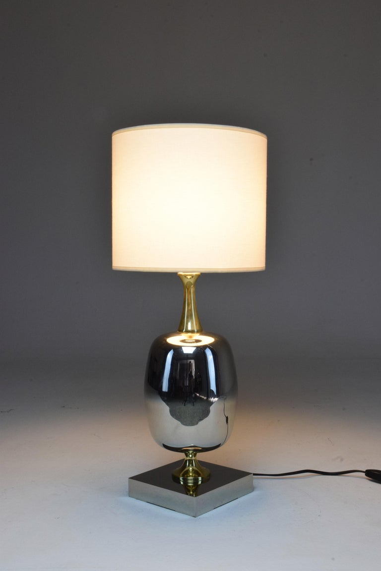 French Vintage Brass Table Lamp, 1970s  In Good Condition For Sale In Paris, FR