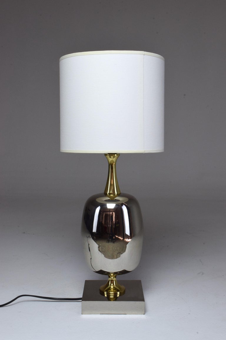 French Vintage Brass Table Lamp, 1970s  For Sale 2