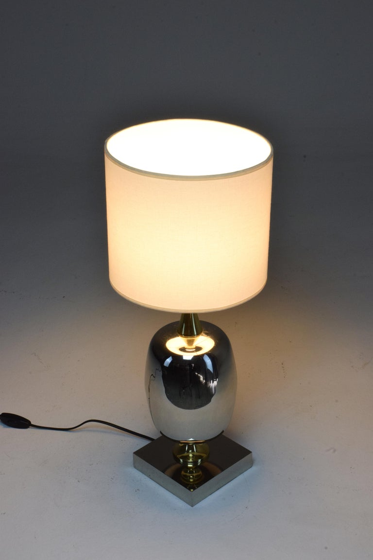 French Vintage Brass Table Lamp, 1970s  For Sale 4