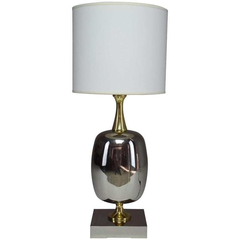 French Vintage Brass Table Lamp, 1970s  For Sale