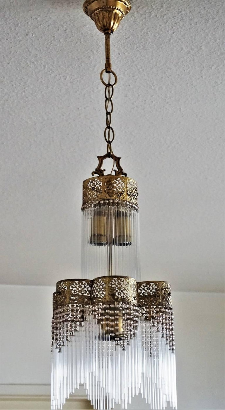 French vintage brass three light chandelier or lantern with glass french vintage brass three light chandelier or lantern with glass rods for sale 1 aloadofball Images
