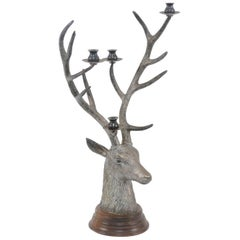 French Vintage Bronze Candelabra Depicting a Buck Head with Tall Antlers, 1950s