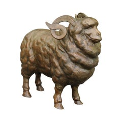 French Vintage Bronze Ram Sculpture from the Midcentury, with Large Horns