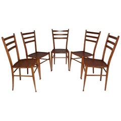 French Vintage Cane Dining Chairs, Set of Five, 1930s