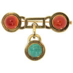 French Vintage Carnelian Gold Brooch