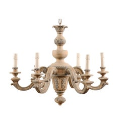 French Vintage Carved & Painted Wood Six-Light Chandelier in Light Beige & Grey