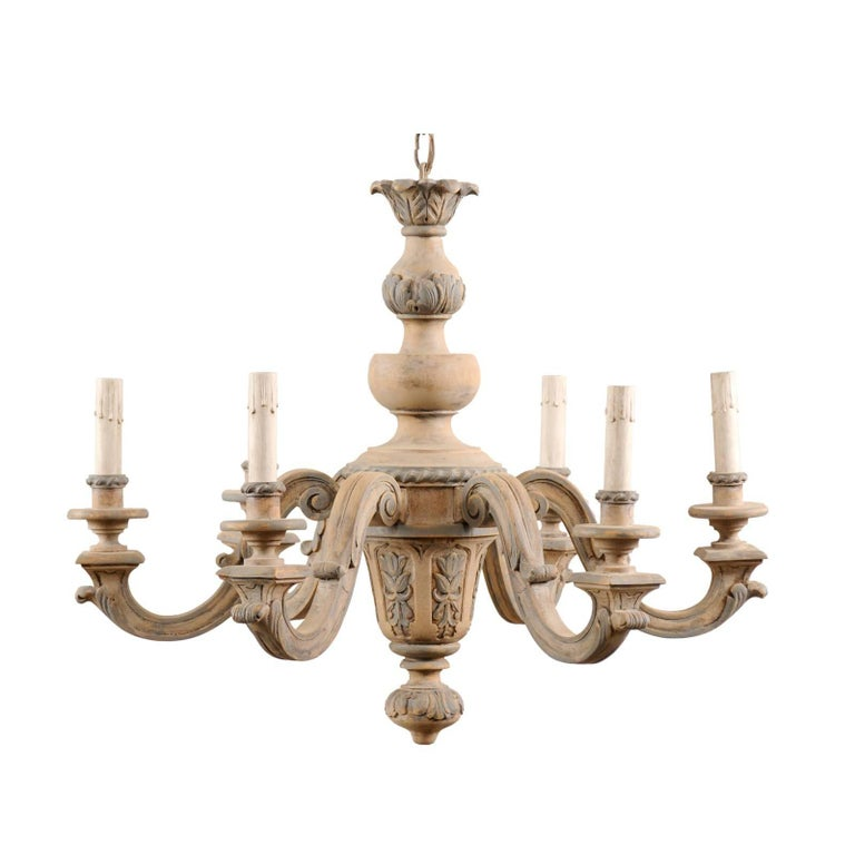 French vintage carved and painted wood six light chandelier in light french vintage carved painted wood six light chandelier in light beige grey for aloadofball Images
