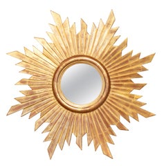 French Vintage Carved Midcentury Giltwood Sunburst with Convex Mirror