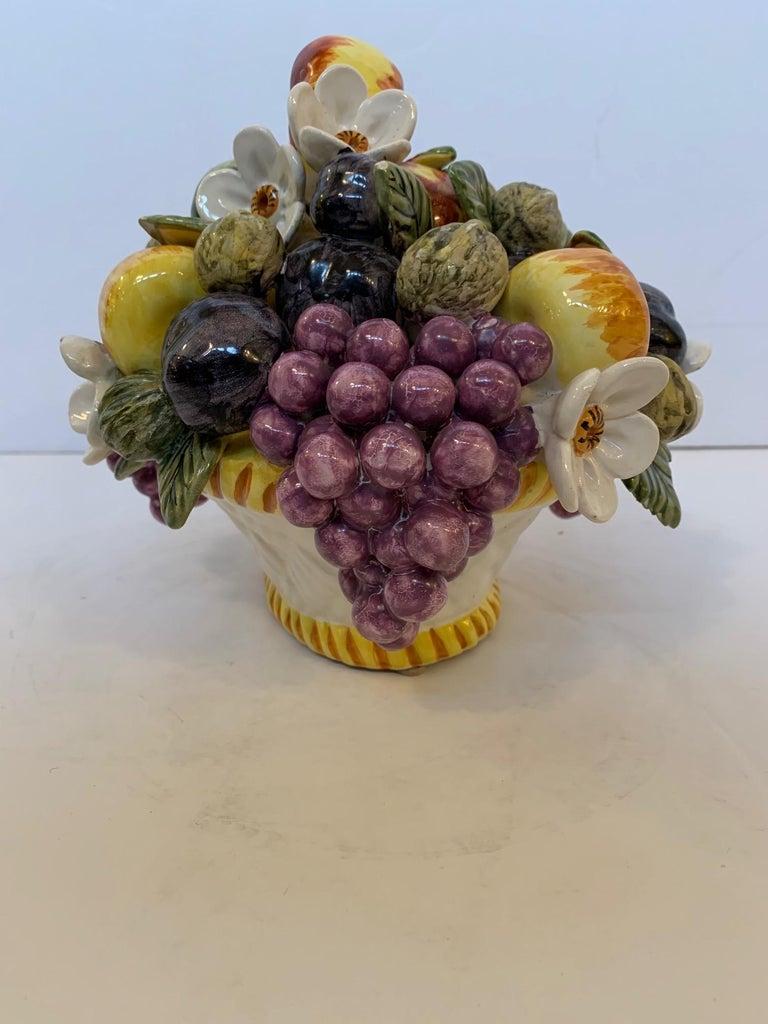 French Vintage Ceramic Flower and Fruit Basket For Sale 5