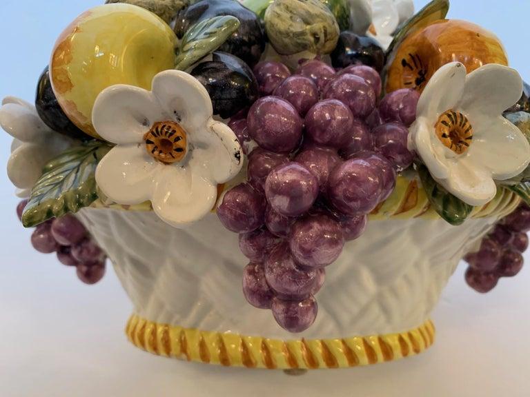 French Vintage Ceramic Flower and Fruit Basket For Sale 6