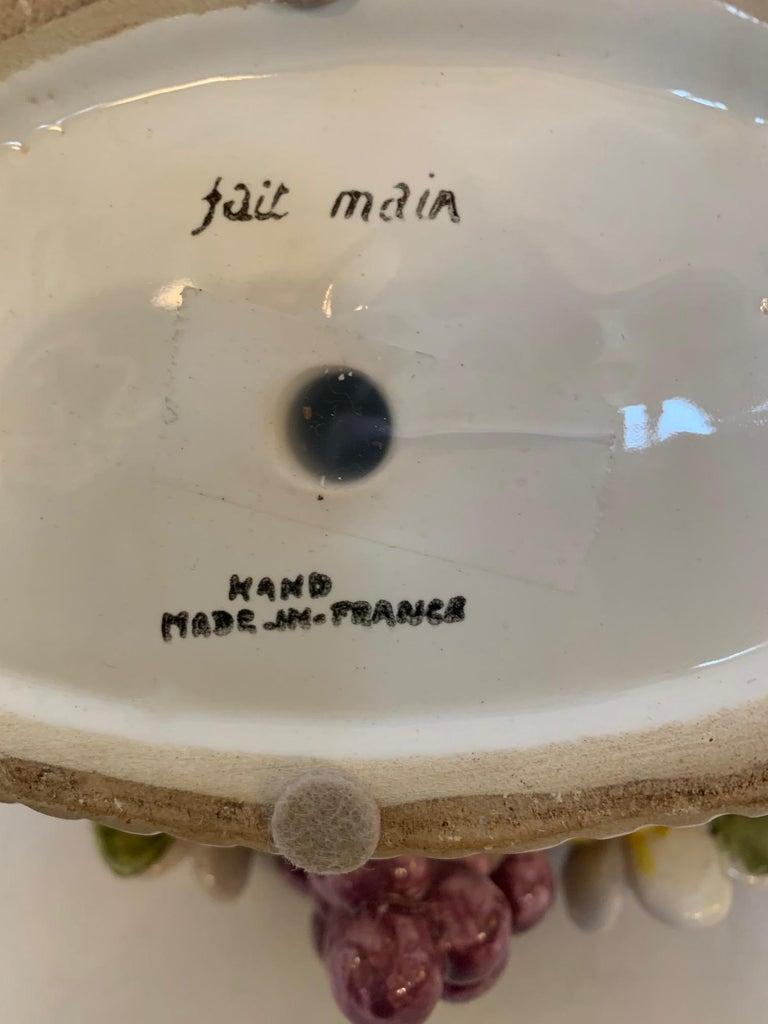 French Vintage Ceramic Flower and Fruit Basket For Sale 7