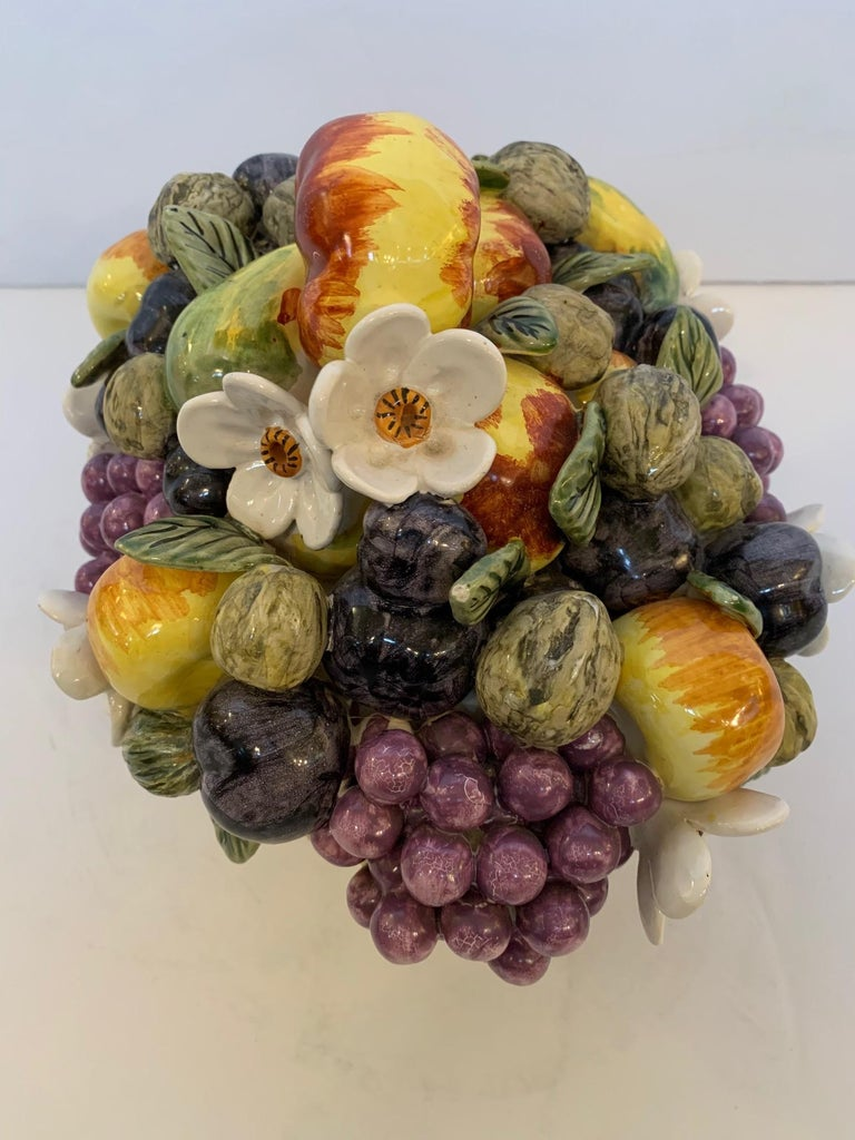 Mid-20th Century French Vintage Ceramic Flower and Fruit Basket For Sale