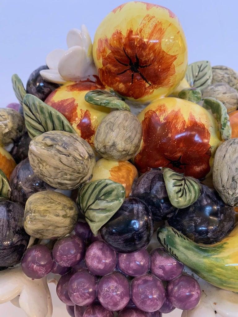 French Vintage Ceramic Flower and Fruit Basket For Sale 3