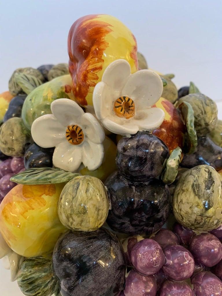 French Vintage Ceramic Flower and Fruit Basket For Sale 4