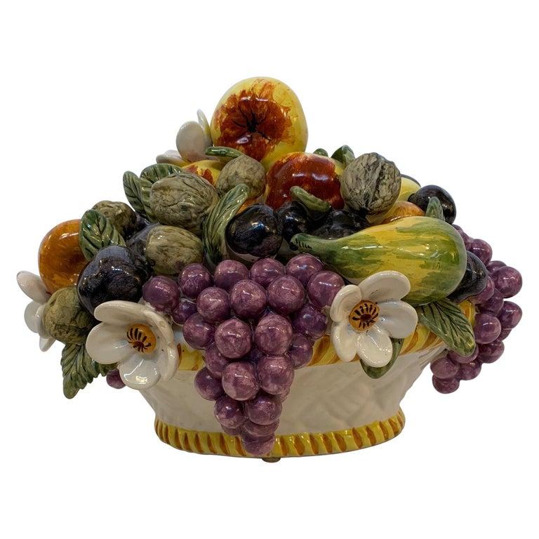 French Vintage Ceramic Flower and Fruit Basket For Sale