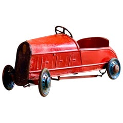 French Vintage Childs Pedal Car Metal Art Deco Era, circa 1930s