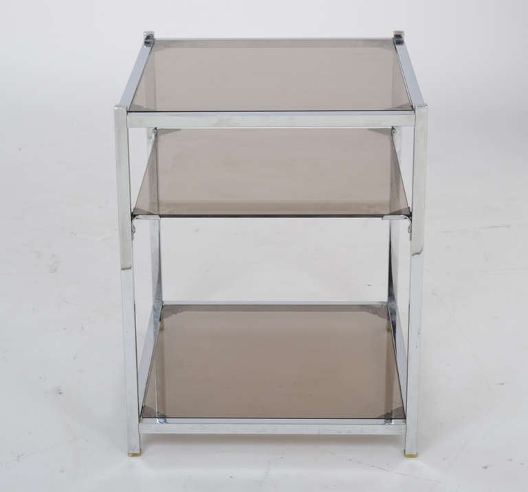 Mid-Century Modern French Vintage Chrome Side Table For Sale