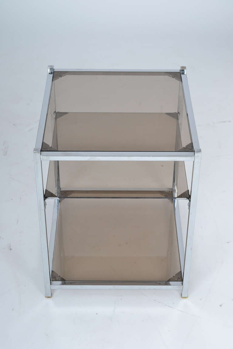 French Vintage Chrome Side Table In Good Condition For Sale In Austin, TX