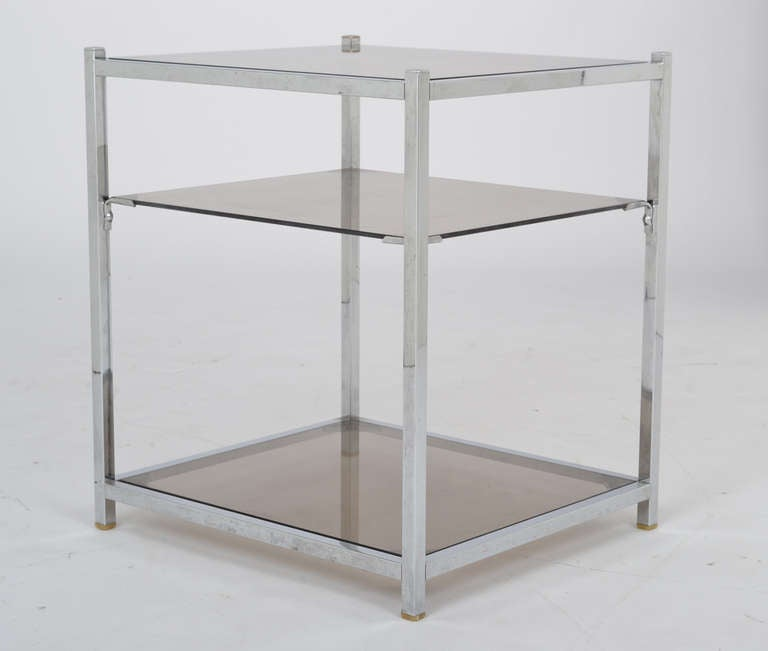 Late 20th Century French Vintage Chrome Side Table For Sale