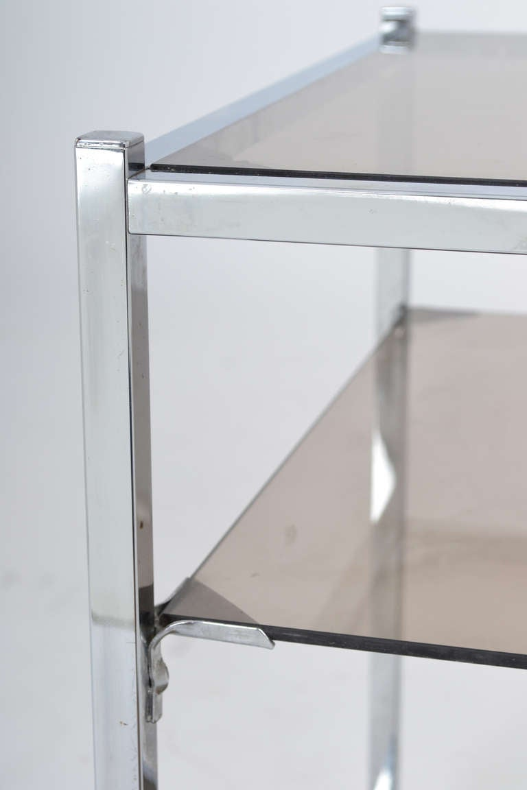 French Vintage Chrome Side Table For Sale 1