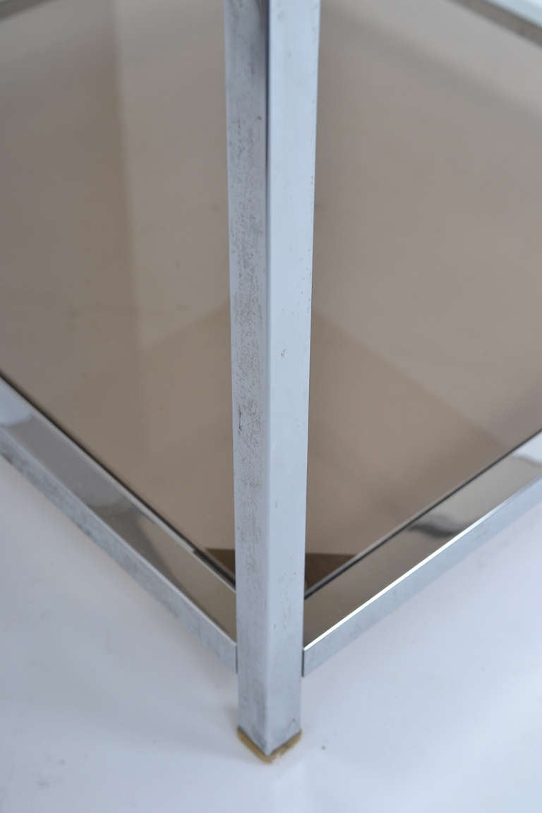 French Vintage Chrome Side Table For Sale 2