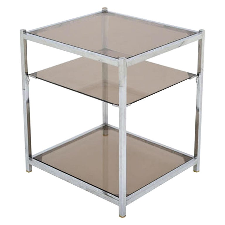 French Vintage Chrome Side Table For Sale