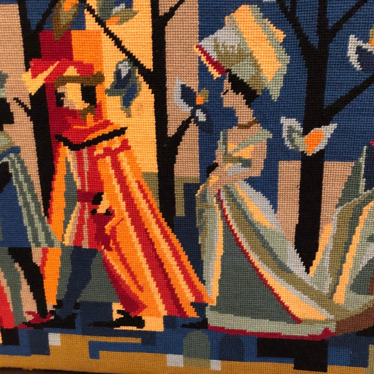 20th Century French Vintage Petit Point Colourful Wall Tapestry or Embroidery, circa 1950s For Sale