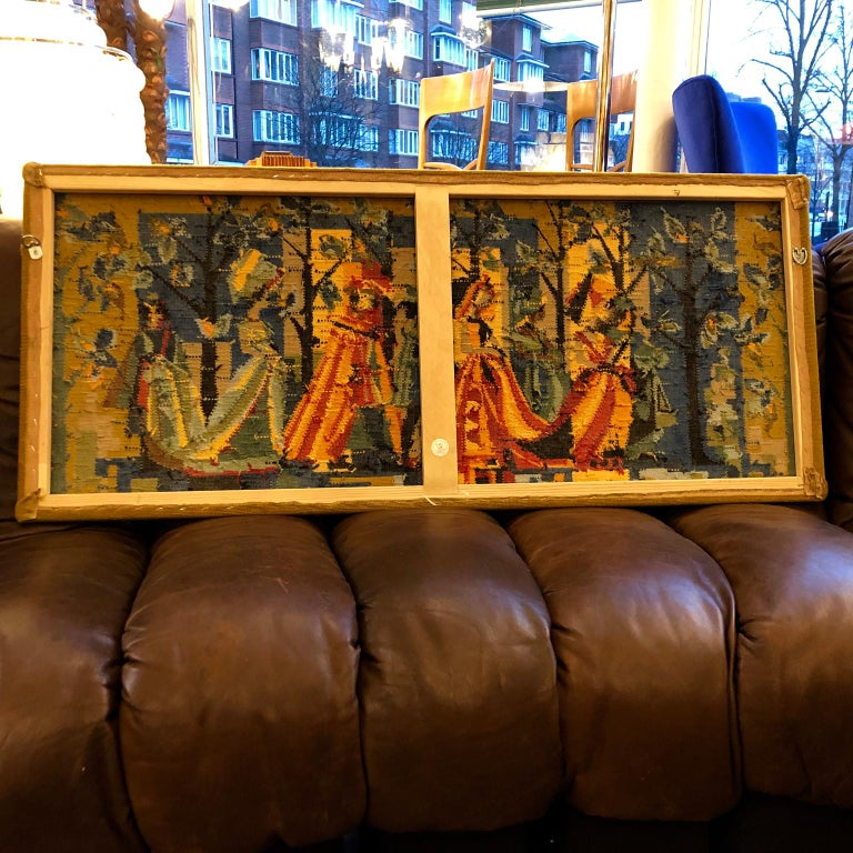 Wool French Vintage Petit Point Colourful Wall Tapestry or Embroidery, circa 1950s For Sale